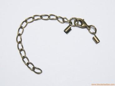 Juego terminal redondo 2mm, mosquetón y cadena bronce