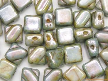 Rocalla Silky Bead 6x6mm verde gris mármol