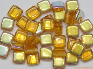 Tila checa 6mm topaz-dorado AB
