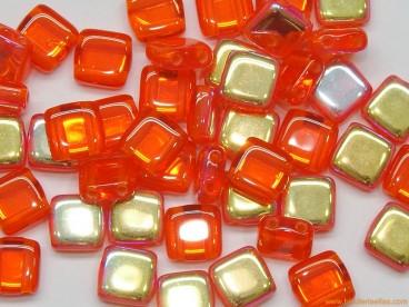 Tila checa 6mm naranja-dorado AB