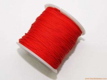 Cordón trenzado rayón 1mm rojo