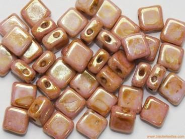 Rocalla Silky Bead 6x6mm rosa jaspeado