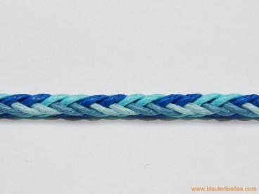 Trencilla algodón 8 cabos 3mm azul