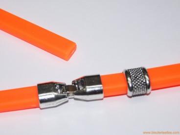 Pulsera de caucho 10x6mm (regaliz) naranja fluorescente