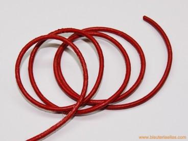 Cordón cuero 2mm rojo