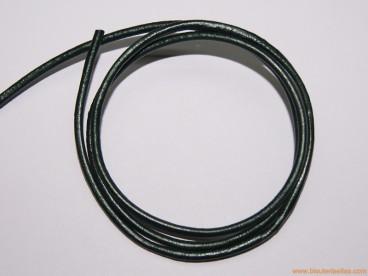 Cordón cuero 2,5mm verde oscuro metalizado