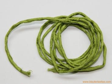 Seda natural salvaje Habotai verde jade 3mm