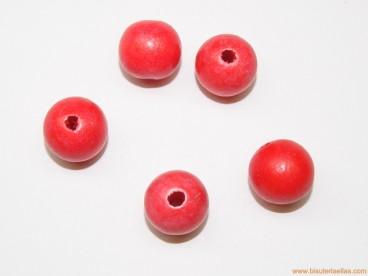 Bola madera 15mm paso 3mm roja