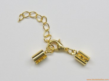 Juego terminal redondo 4mm, mosquetón y cadena dorado