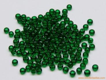 Rocalla Toho bola 11/0 verde oscuro transparente