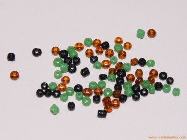 Rocalla 9/0 variada Verde, Marrón y Negra